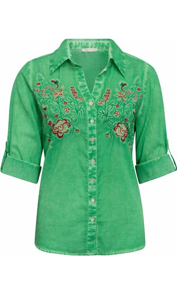 Anna Rose Embroidered Turn Sleeve Washed Blouse Green