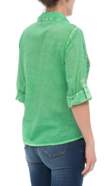 Anna Rose Embroidered Turn Sleeve Washed Blouse Green - Gallery Image 3