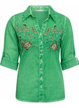Anna Rose Embroidered Turn Sleeve Washed Blouse Green - Gallery Image 1