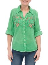 Anna Rose Embroidered Turn Sleeve Washed Blouse Green - Gallery Image 2