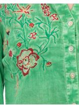 Anna Rose Embroidered Turn Sleeve Washed Blouse Green - Gallery Image 4