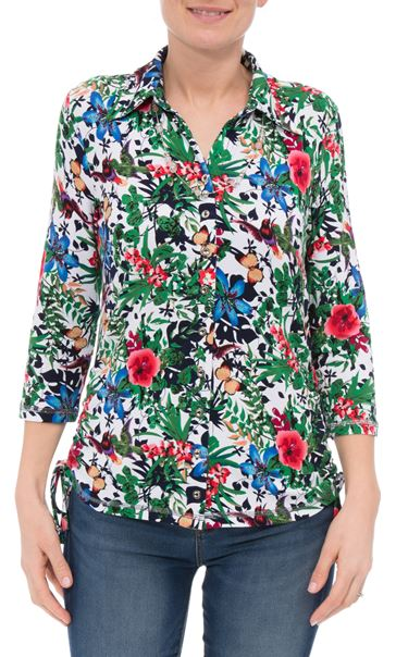 Anna Rose Garden Print Jersey Blouse With Necklace Floral Butterfly