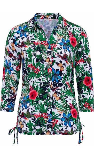 Anna Rose Garden Print Jersey Blouse With Necklace Floral Butterfly - Gallery Image 3