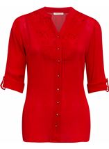 Anna Rose Three Quarter Sleeve Crepe Blouse Red - Gallery Image 1