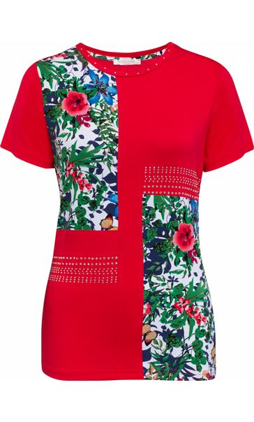 Anna Rose Floral Panelled Short Sleeve Top Red