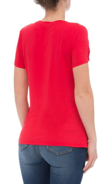 Anna Rose Floral Panelled Short Sleeve Top Red - Gallery Image 3
