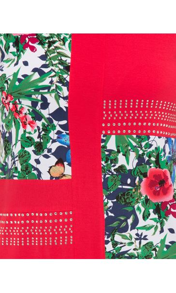 Anna Rose Floral Panelled Short Sleeve Top Red - Gallery Image 4