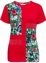 Anna Rose Floral Panelled Short Sleeve Top Red - Gallery Image 1