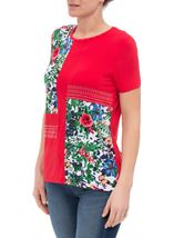 Anna Rose Floral Panelled Short Sleeve Top Red - Gallery Image 2