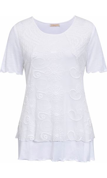 Anna Rose Layered Short Sleeve Top White