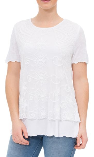 Anna Rose Layered Short Sleeve Top White - Gallery Image 2