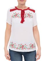 Anna Rose Embroidered Tassel Top White/Multi - Gallery Image 1