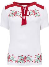 Anna Rose Embroidered Tassel Top White/Multi - Gallery Image 3