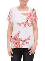 Anna Rose Floral Printed Lace Trim Jersey Top