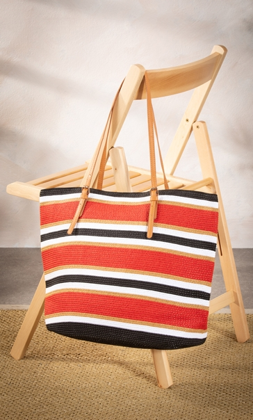 Multi Striped Beach Bag Black