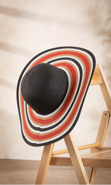 Striped Floppy Hat Black