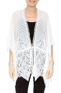 Self Tie Lace Cover Up - White