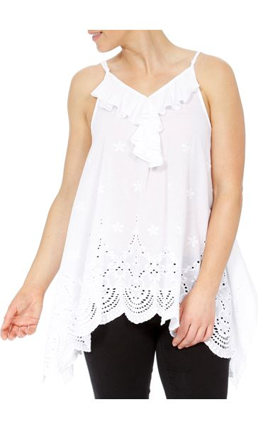 Dip Hem Broderie Anglaise Cotton Top White