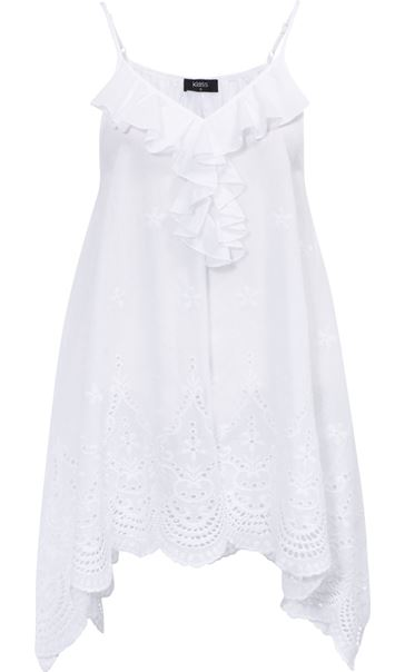 Dip Hem Broderie Anglaise Cotton Top White - Gallery Image 3