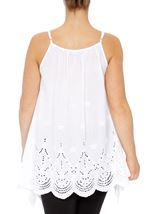 Dip Hem Broderie Anglaise Cotton Top White - Gallery Image 2