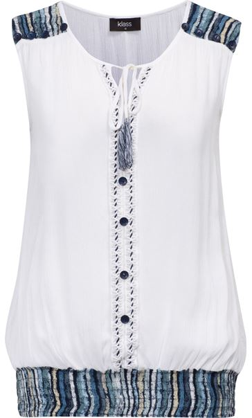 Button Trimmed Sleeveless Crinkle Top