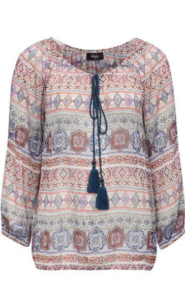 Split Sleeve Printed Georgette Top Beige/Airforce/Rust
