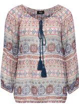 Split Sleeve Printed Georgette Top Beige/Airforce/Rust - Gallery Image 1