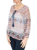 Split Sleeve Printed Georgette Top Beige/Airforce/Rust - Gallery Image 2