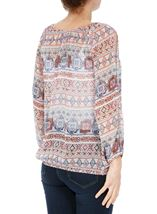 Split Sleeve Printed Georgette Top Beige/Airforce/Rust - Gallery Image 3