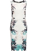 Printed Lace Layer Sleeveless Midi Dress Ivory/Caribbean - Gallery Image 1
