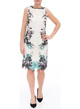 Printed Lace Layer Sleeveless Midi Dress Ivory/Caribbean - Gallery Image 2