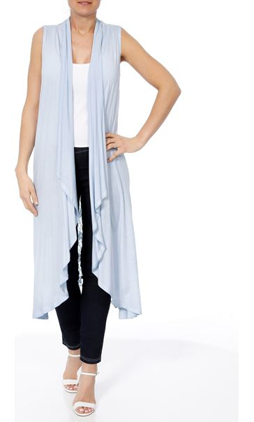 Longline Lace And Jersey Open Cover Up Soft Blue