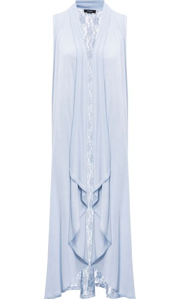 Longline Lace And Jersey Open Cover Up Soft Blue - Gallery Image 3
