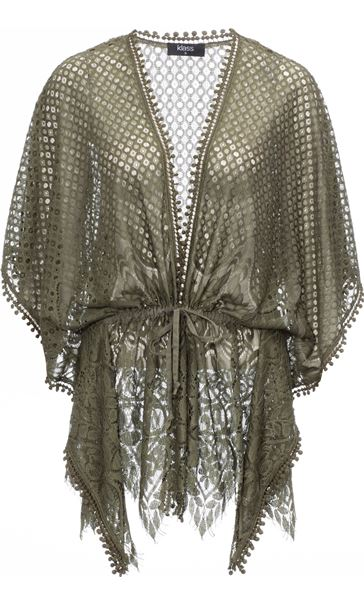 Self Tie Lace Cover Up Khaki - Gallery Image 3