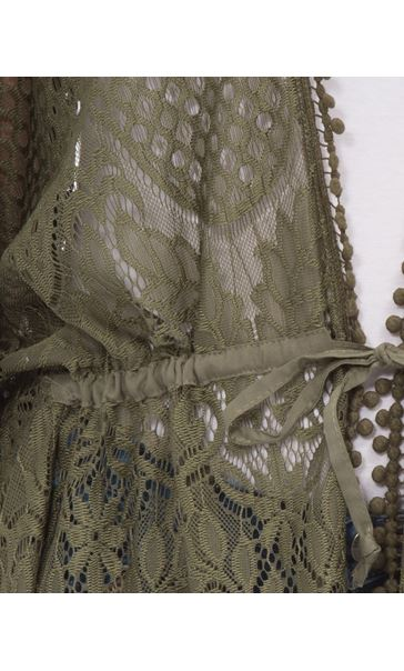 Self Tie Lace Cover Up Khaki - Gallery Image 4