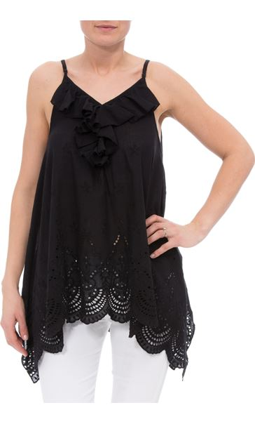 Dip Hem Broderie Anglaise Cotton Top Black - Gallery Image 1
