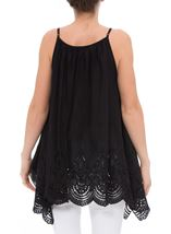 Dip Hem Broderie Anglaise Cotton Top Black - Gallery Image 2