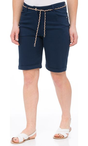 Stretch Shorts With Tie Belt Navy