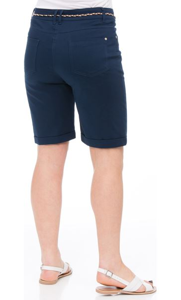 Stretch Shorts With Tie Belt Navy - Gallery Image 2
