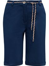 Stretch Shorts With Tie Belt Navy - Gallery Image 3