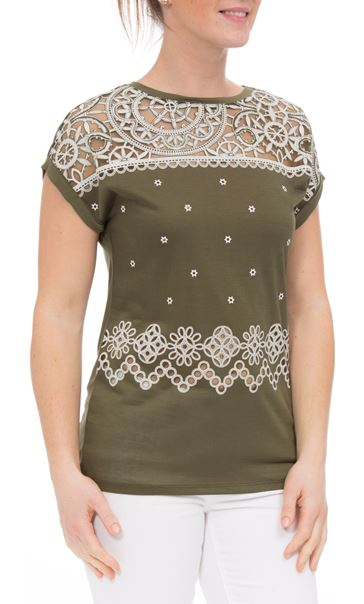 Embroidered Short Sleeve Jersey Top Khaki