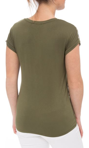 Embroidered Short Sleeve Jersey Top Green - Gallery Image 2