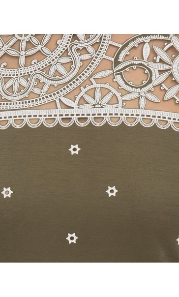 Embroidered Short Sleeve Jersey Top Green - Gallery Image 3