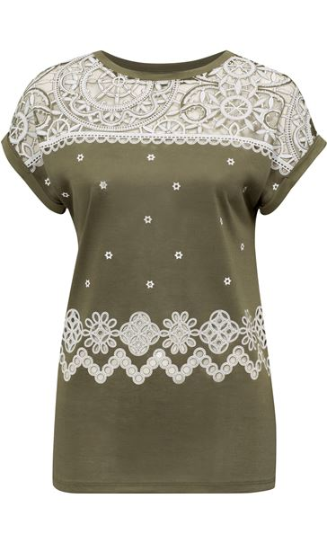 Embroidered Short Sleeve Jersey Top Green - Gallery Image 4