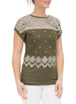 Embroidered Short Sleeve Jersey Top Khaki - Gallery Image 1