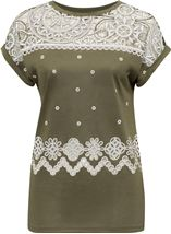 Embroidered Short Sleeve Jersey Top Khaki - Gallery Image 4