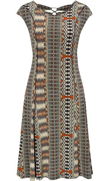 Printed Panel Jersey Midi Dress Multi Khaki