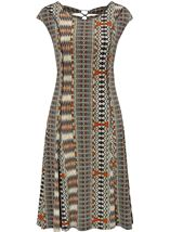 Printed Panel Jersey Midi Dress Multi Khaki - Gallery Image 1