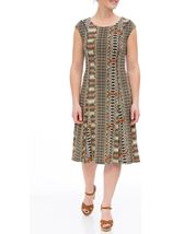 Printed Panel Jersey Midi Dress Multi Khaki - Gallery Image 2