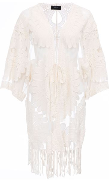 Embroidered Mesh Cover Up Sand - Gallery Image 4